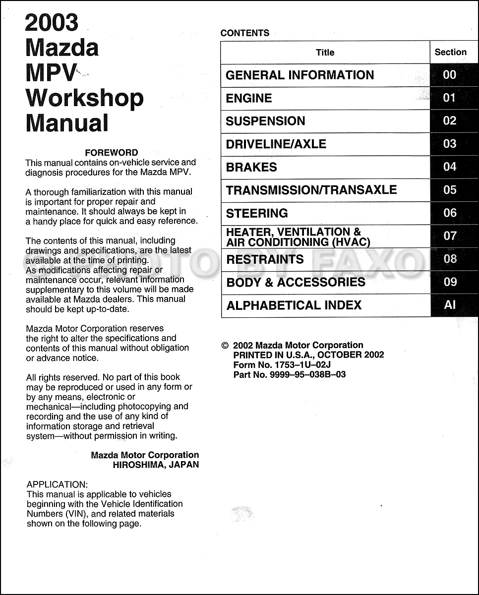 95 Mazda Mpv Engine Diagram Wiring Library 2003 Repair Shop Manual Original Table Of Contents