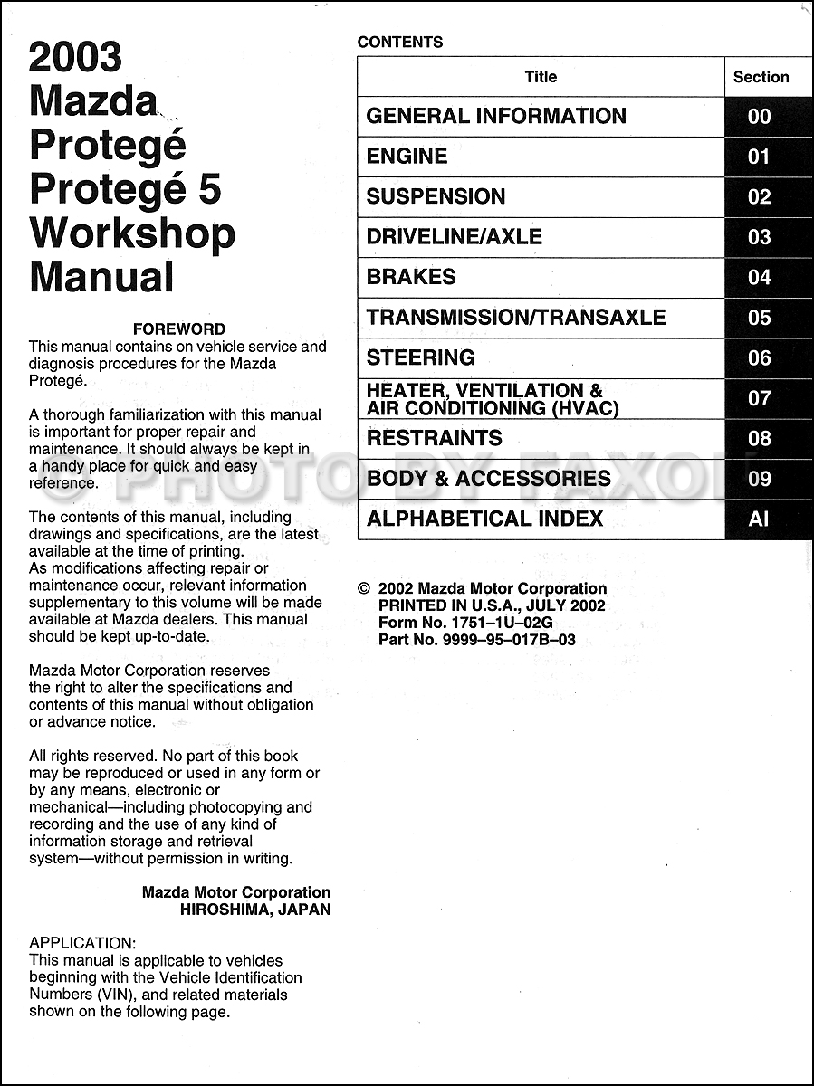 2003 mazda protege and protege 5 repair shop manual original rh  faxonautoliterature com 2002 mazda protege5 radio wiring diagram