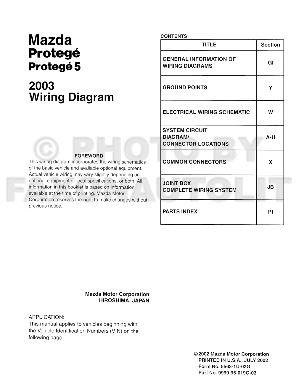2003 Mazda Protege and Protege5 Wiring Diagram Manual Original. click on  thumbnail to zoom