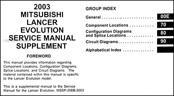 2003 Mitsubishi Lancer Evolution Wiring Diagram Manual ...
