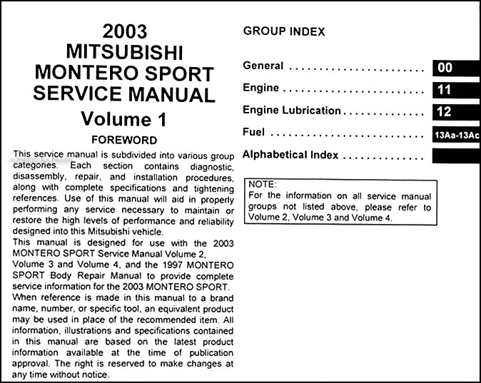2003 mitsubishi montero sport repair shop manual set original rh faxonautoliterature com 2003 mitsubishi montero sport repair manual 1991 Mitsubishi Montero