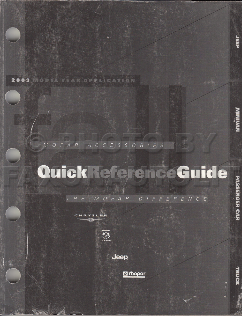 2003 Mopar Accessories Quick Reference Guide Original