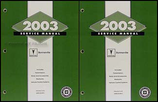 2003 Pontiac Bonneville Repair Manual Original 2 Vol Set