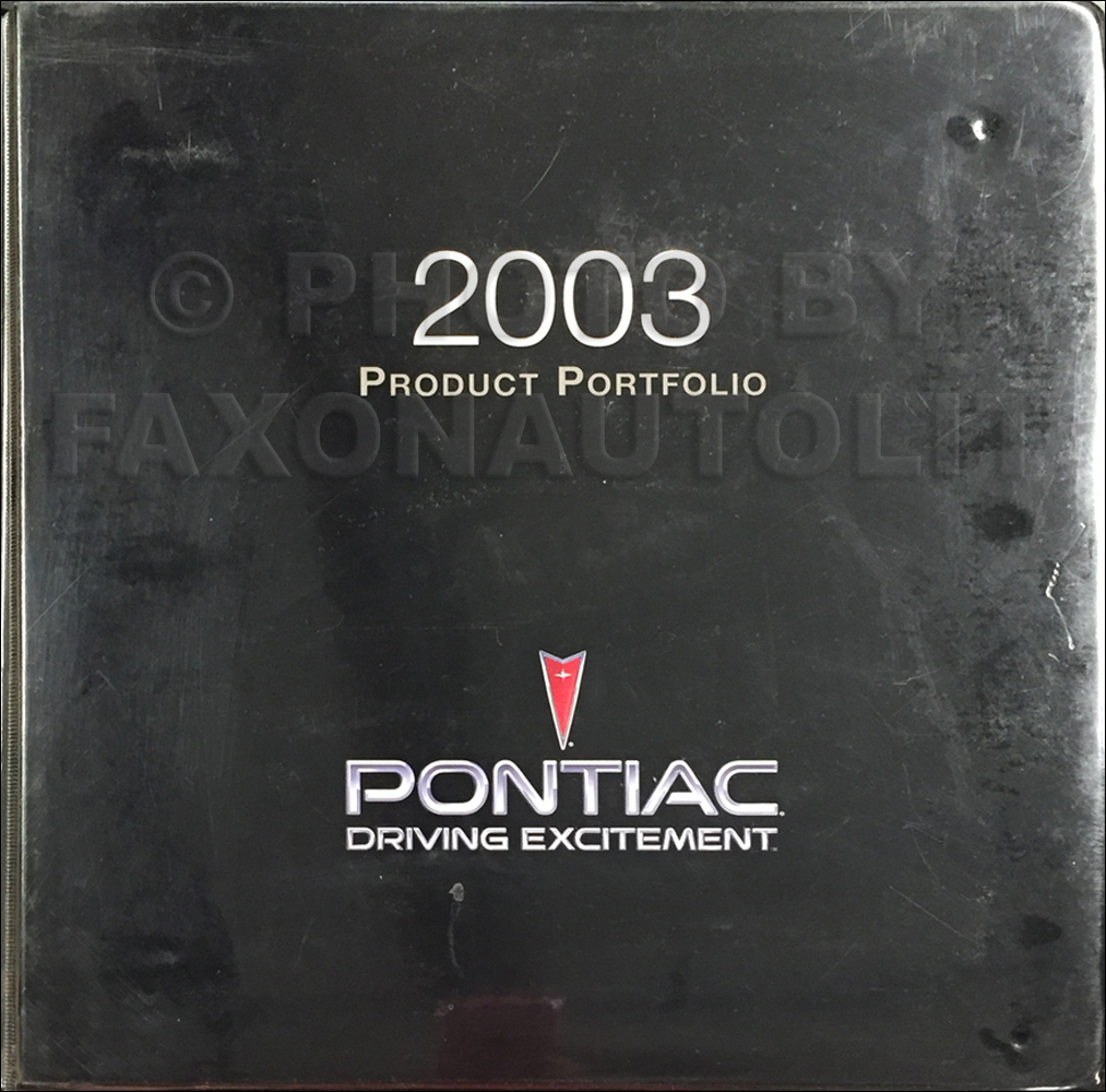 2003 Pontiac Color & Upholstery, Data Book Dealer Album Original
