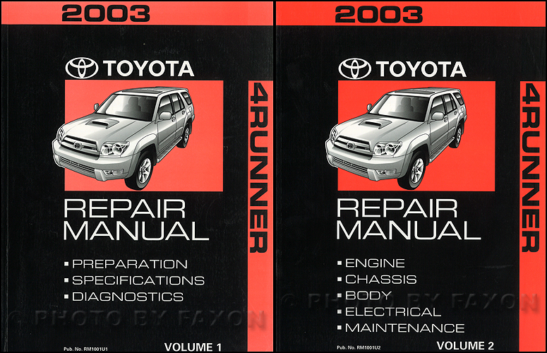 2003 Toyota 4Runner Repair Manual Original 2 Volume Set