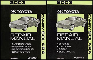 2003 Toyota Camry Solara Repair Manual Original Set