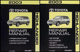 2003 Toyota Highlander Repair Manual Original Set