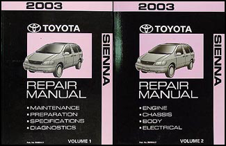 2003 Toyota Sienna Repair Manual Original