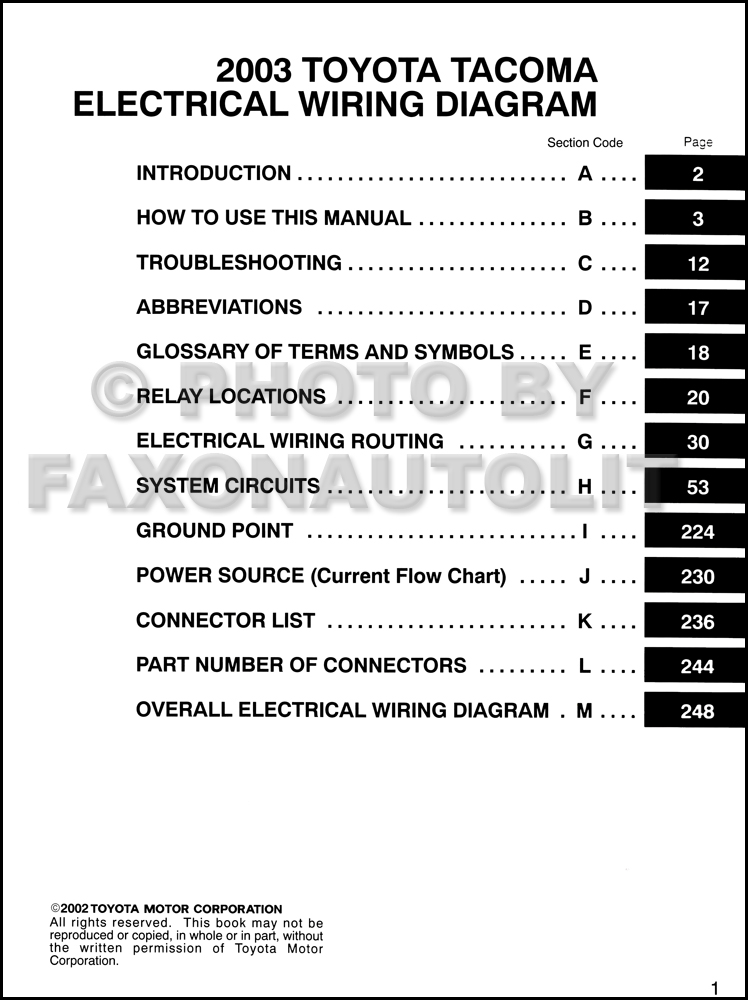 2003 toyota tacoma pickup wiring diagram manual original rh faxonautoliterature com