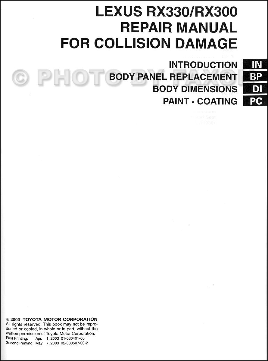 2003-2009 Lexus GX 470 Body Collision Repair Manual Original · Table of  Contents