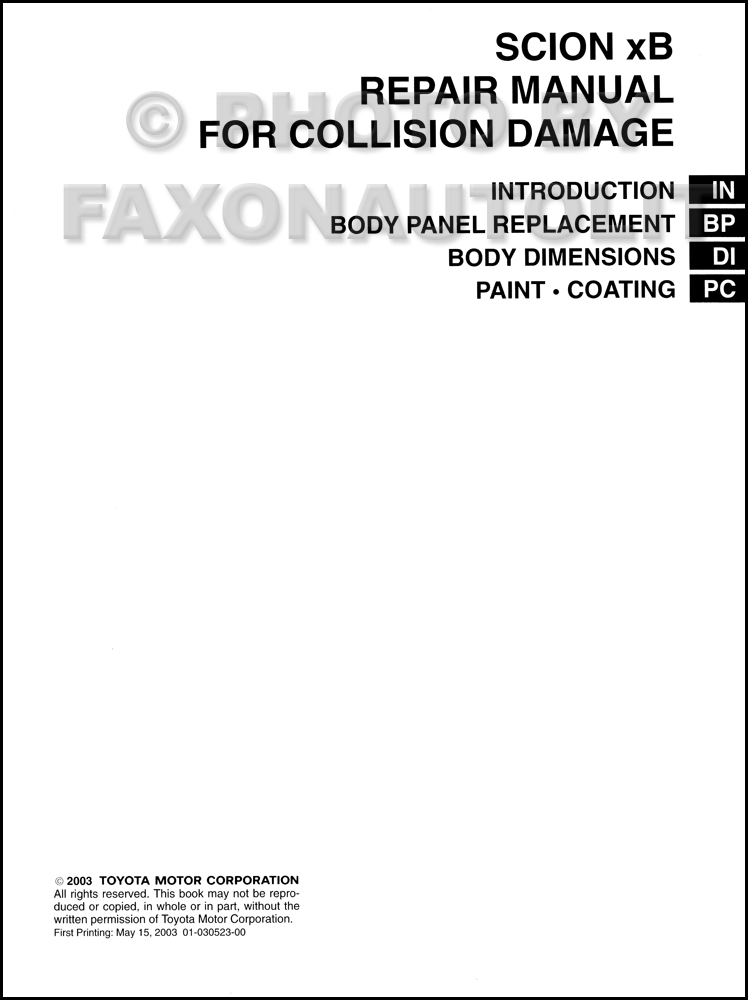 2004 scion xb repair manual
