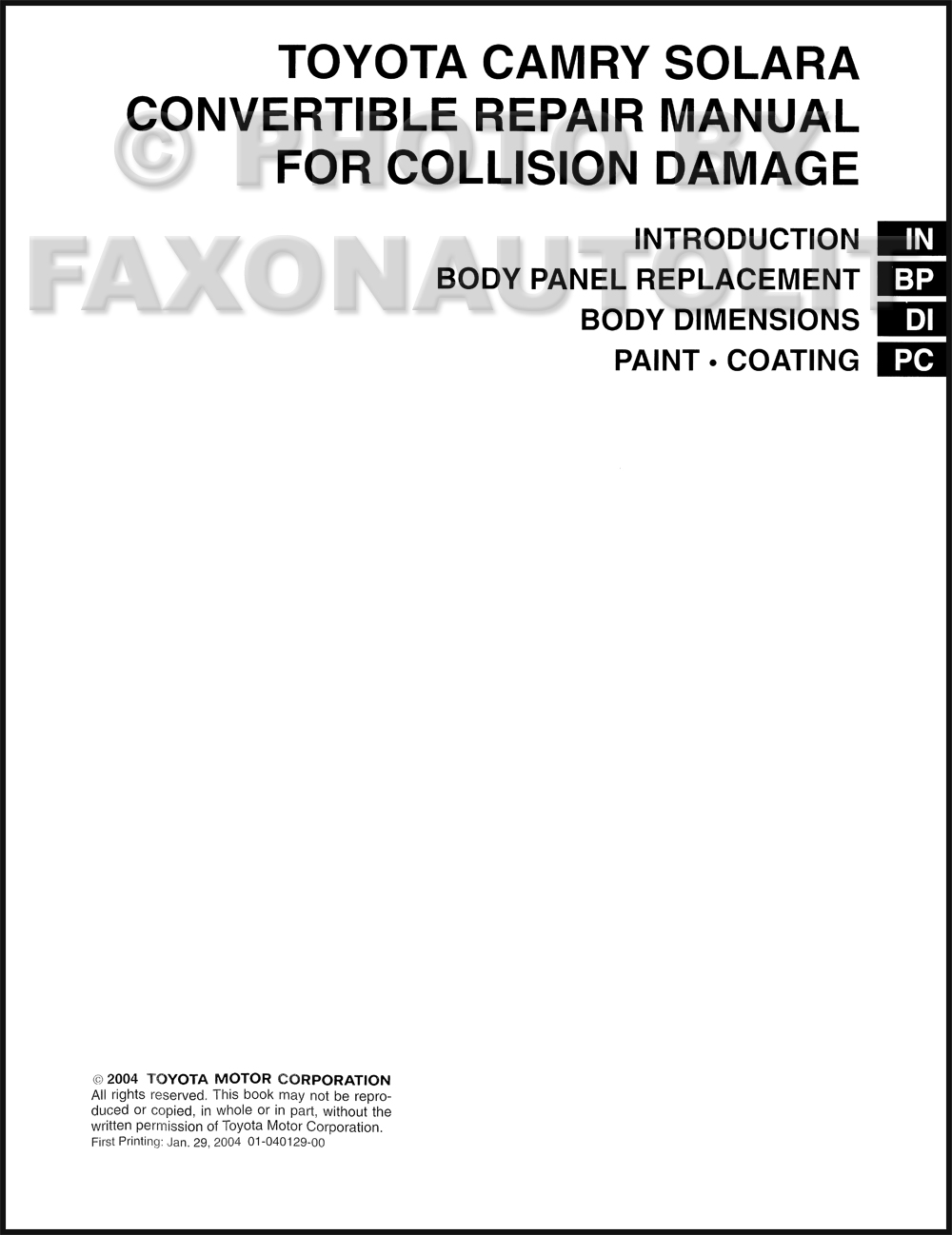 ... Camry Body Collision Repair Manual Original. click on thumbnail to zoom