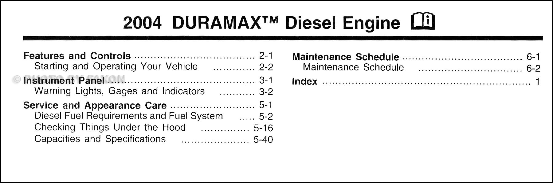 2004 Chevrolet GMC Duramax Diesel Owners Manual Supplement Original · Table  of Contents