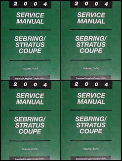 2004 Sebring & Stratus Coupe Shop Manual Original 4 Volume Set