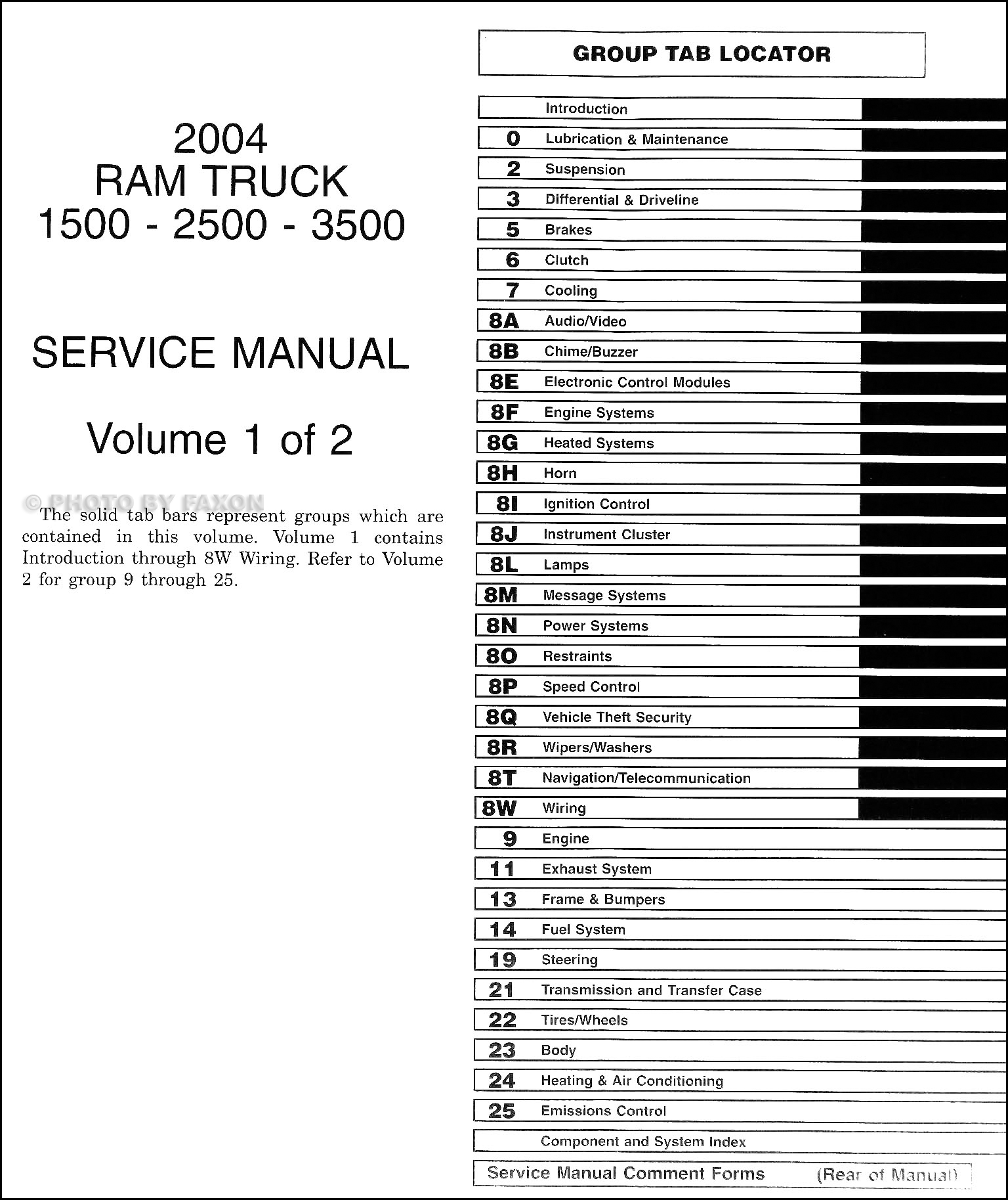 1994 Dodge Ram 1500-3500 Truck Shop Manual Original · Table of Contents