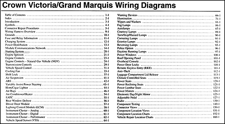 2004 crown victoria \u0026 grand marquis original wiring diagram manual2004 crown victoria \u0026 grand marquis original wiring diagram manual � table of contents