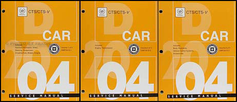 2004 Cadillac CTS CTS-V Repair Manual 3 Original Volume Set