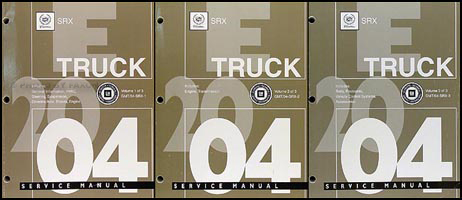 2004 Cadillac SRX Shop Manual Original 3 Volume Set