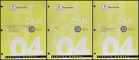 2004 Pontiac Bonneville Repair Manual Original 3 Vol Set