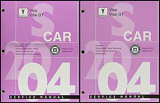 2004 Pontiac Vibe and GT Repair Manual Original 2 Volume Set