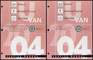 2004 Venture Montana Thunder and Silhouette Repair Shop Manual Original Set