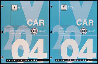 2004 Pontiac GTO Repair Manual Original 2 Volume Set