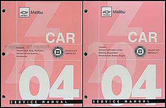 2004 Chevrolet Malibu Repair Manual Original 2 Volume Set