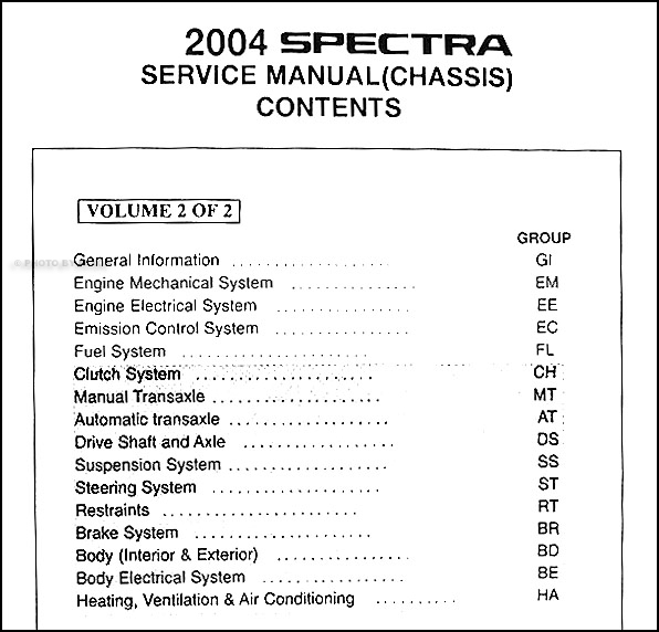 [SCHEMATICS_4HG]  2004 Kia Spectra Repair Shop Manual Original 2 Vol. Set | 2004 Kia Spectra Engine Diagram |  | Faxon Auto Literature