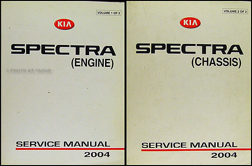 2004 Kia Spectra Repair Manual Original 2 Vol. Set