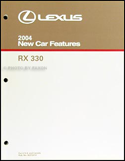 2004 Lexus RX 330 Features Service Training Manual Original