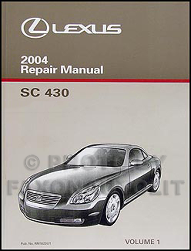 2004 Lexus SC 430 Repair Manual Original Vol. 1 Only