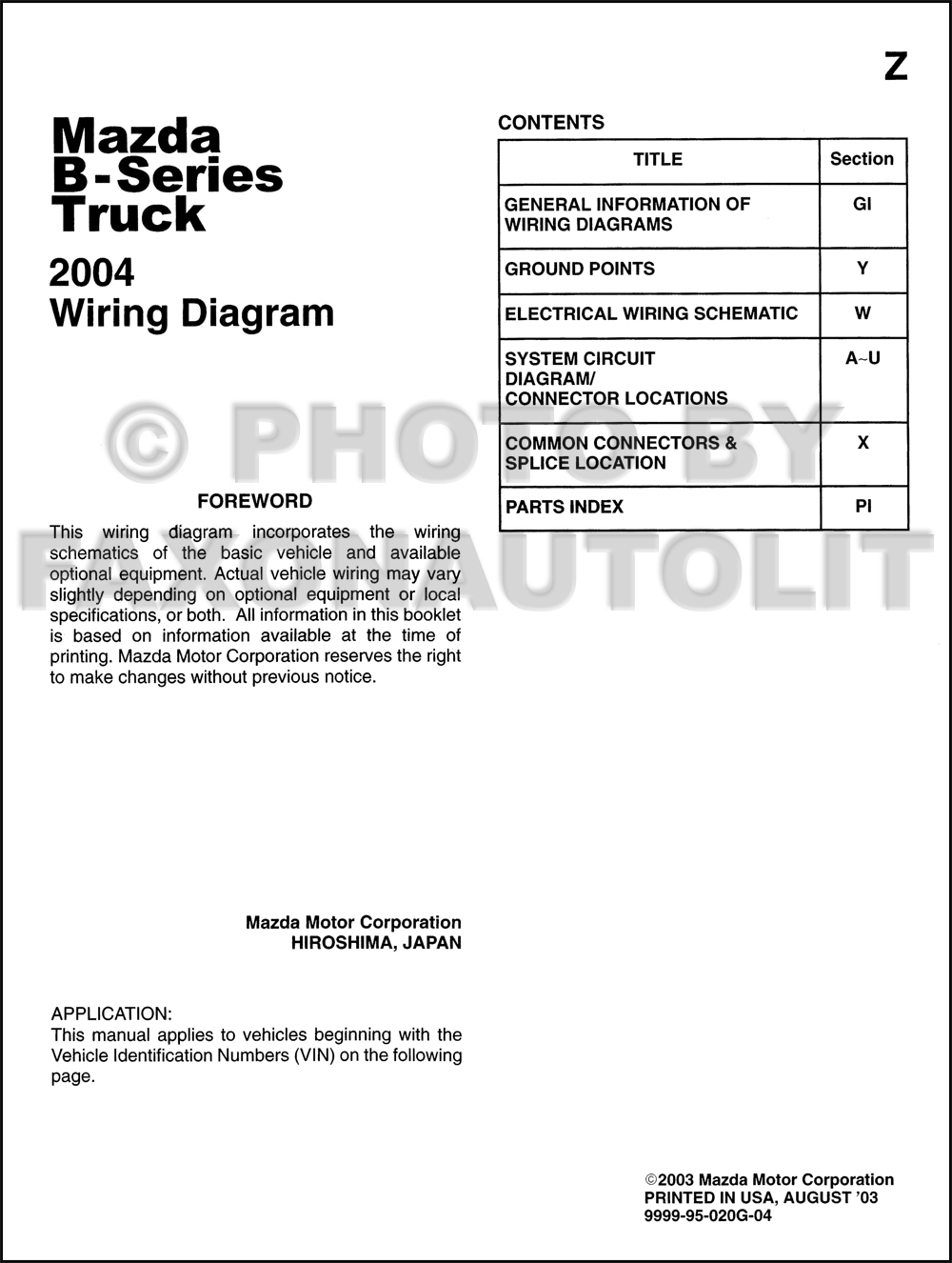 2004 Mazda B2300 Fuse Diagram Archive Of Automotive Wiring 2000 B2500 Box B Series Pickup Truck Manual Original Rh Faxonautoliterature Com