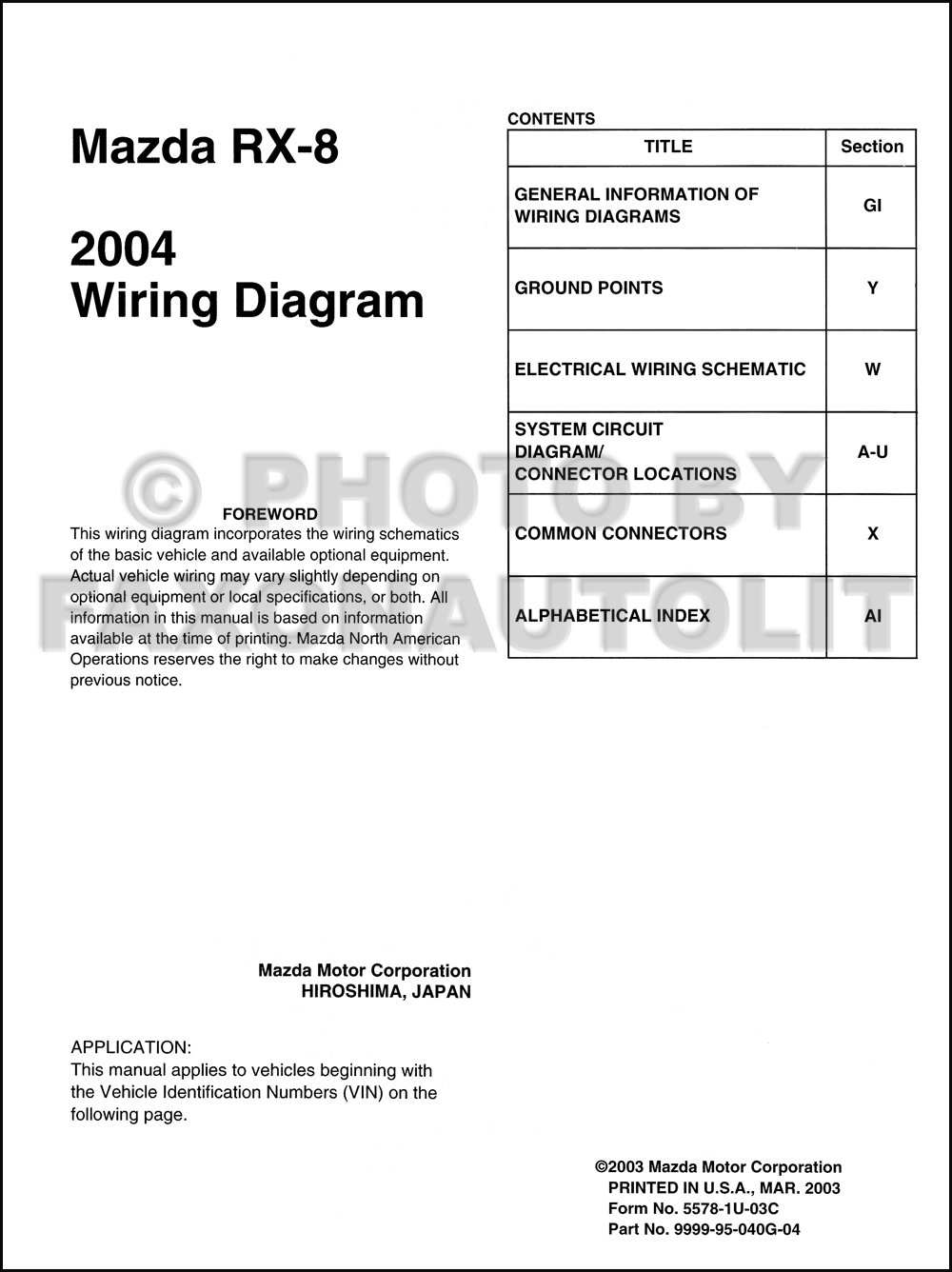 2004 Mazda RX-8 Wiring Diagram Manual Original RX8. click on thumbnail to  zoom