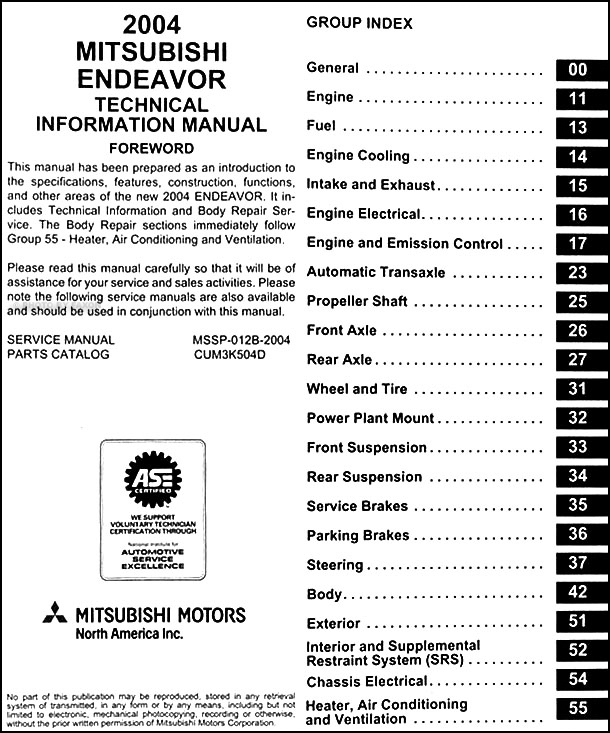 2004 mitsubishi endeavor body manual original 2001 Mitsubishi Eclipse Spyder Wiring Diagram