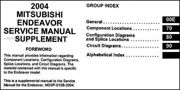 2004 Mitsubishi Endeavor Wiring Diagram Manual Original