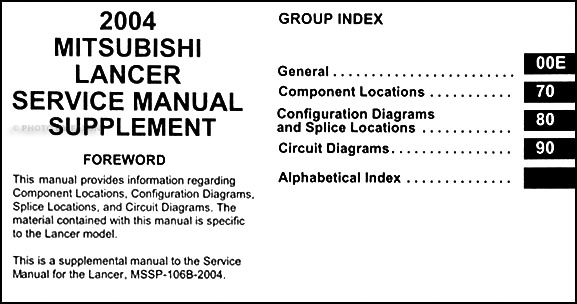 2004 Mitsubishi Lancer Wiring Diagram Manual Original