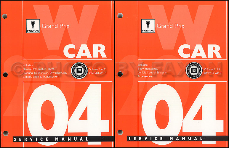 2004 Pontiac Grand Prix Repair Manual Original 2 Volume Set