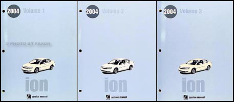2004 Saturn Ion Repair Manual 3 Volume Set Original
