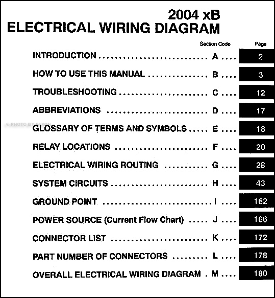 2004 Scion Xb Wiring Diagram Manual Original
