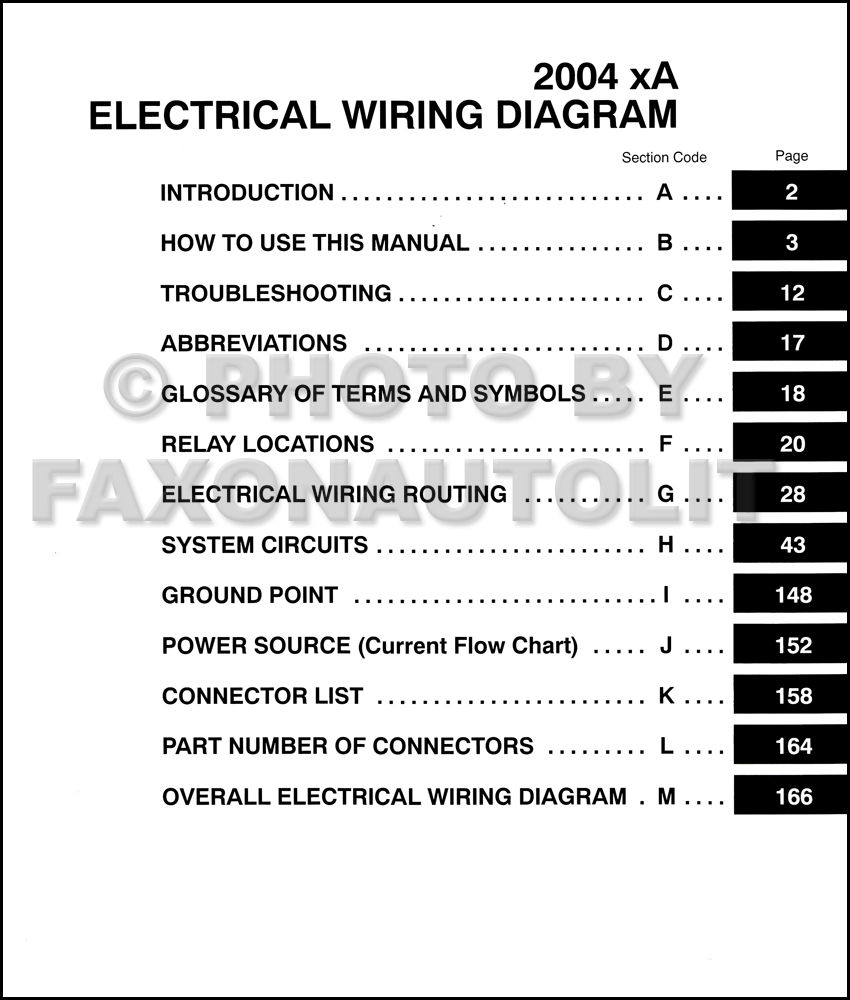 2004 scion xa wiring diagram manual original rh faxonautoliterature com 2006  scion xa stereo wiring diagram
