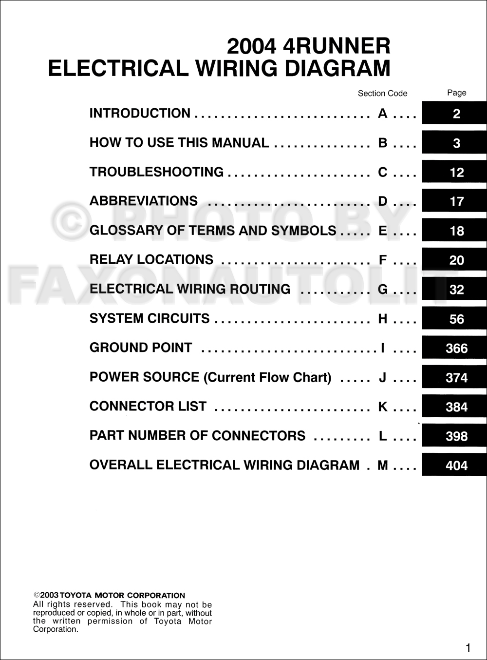 2004 toyota 4runner wiring diagram manual original 2004 Toyota 4Runner Wheels