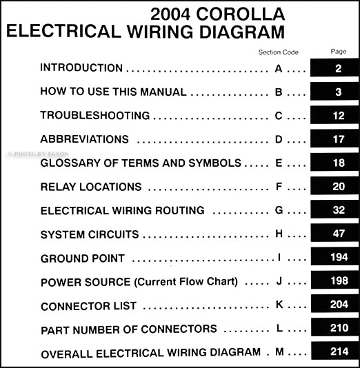 2004 Toyota Corolla Wiring Diagram Manual OriginalFaxon Auto Literature