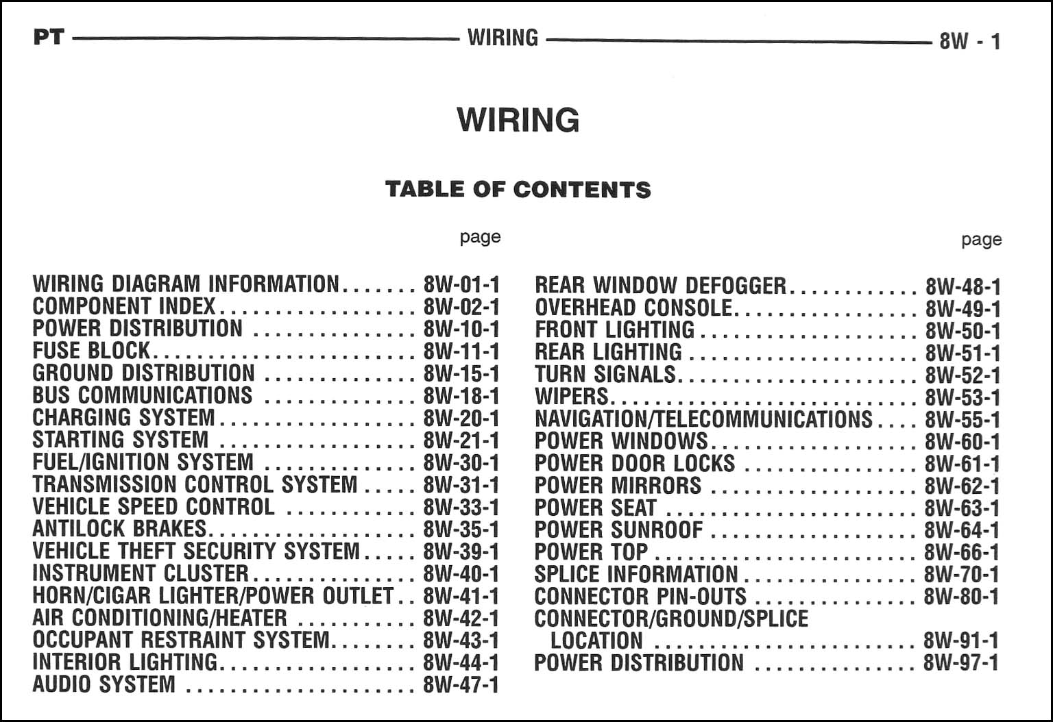 2005 Chrysler Pt Cruiser Wiring Diagram Manual Original 1941 Ford Harness Table Of Contents Page