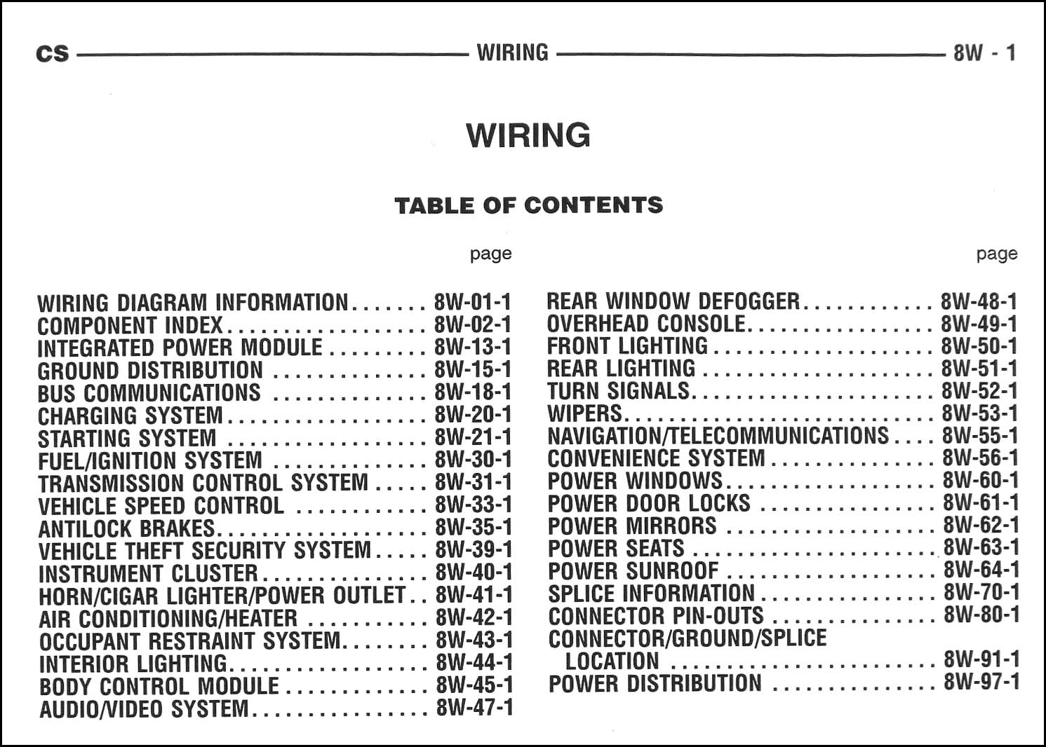 2005 Chrysler Pacifica Wiring Diagram Manual Original · Table of Contents  Page