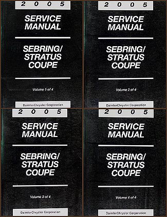 2005 Sebring & Stratus Coupe Shop Manual Original 4 Volume Set