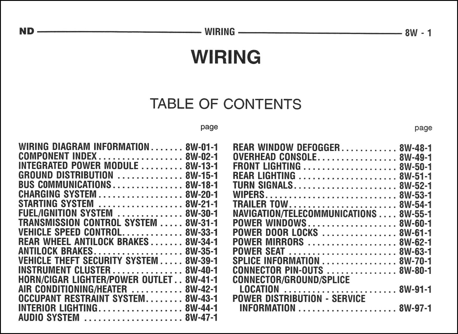 2005 Dodge Durango Wiring Diagram Manual Original · Table of Contents Page