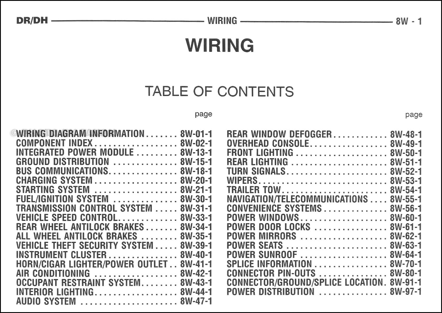 2005 Dodge Ram Truck Wiring Diagram Manual Original · Table of Contents Page