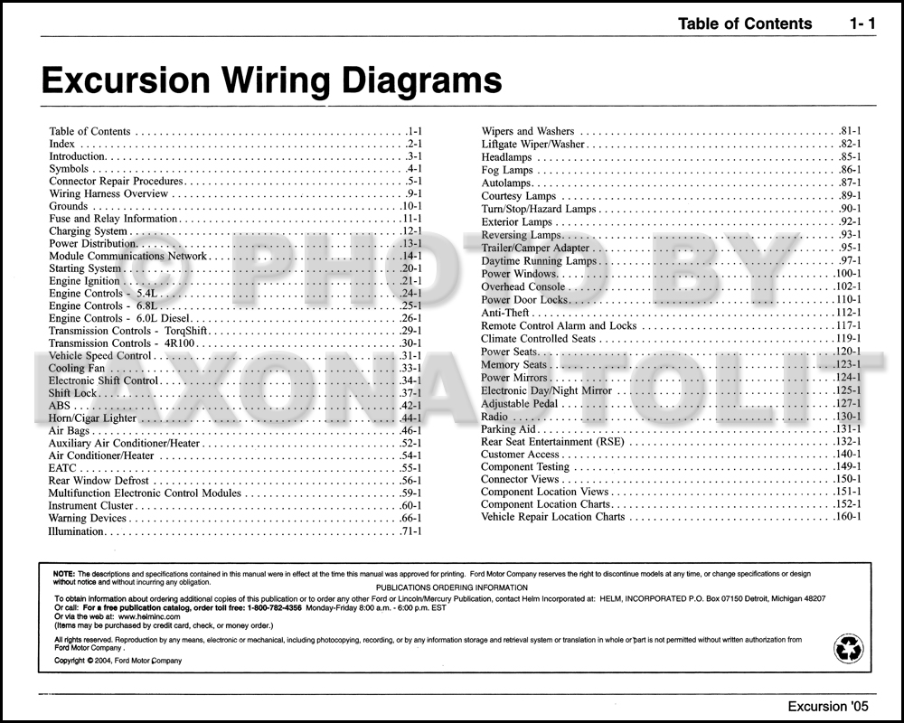 2005 Ford Excursion Wiring Diagram Manual · Table of Contents Page