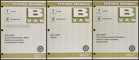 2005 Aztek and Rendezvous Repair Manual Original 3 Volume Set