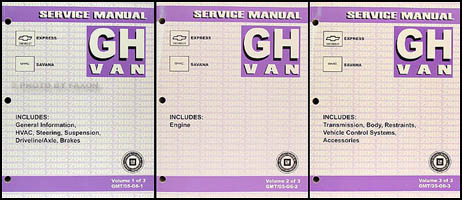 2005 Express and Savana Repair Manual 3 Volume Set Original